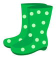 green rubber boots on white background vector image