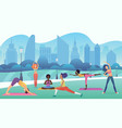 group women doing yoga in park with modern vector image vector image