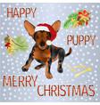 happy puppy dog santa merry christmas and new yar vector image vector image
