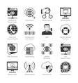 Internet And Network Black Icons vector image