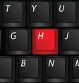 keyboard with red h sign vector image vector image