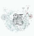 lovely little rabbit with dandelions vector image
