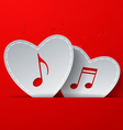 Notes Cut in White Paper Hearts on Red Background vector image vector image