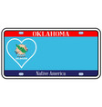 oklahoma state license plate vector image vector image