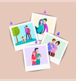 polaroid photos of young lovers pinned to the wall vector image