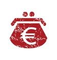 Red grunge euro purse logo vector image vector image