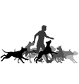Running with dogs vector image vector image