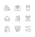 set line icons food delivery vector image vector image