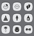 set of 9 editable kid icons includes symbols such vector image vector image
