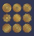 set of gold mandalas indian wedding meditation vector image vector image