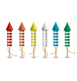 Set of isolated pyrotechnic rockets vector image