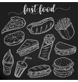 set of isolated sketches of fast or junk food vector image