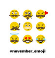 setof emoji with mustache and beard vector image vector image