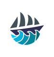 simple ship sail logo vector image