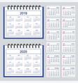 spanish business spiral desk calendar year 2019 vector image vector image