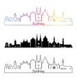 sydney v3 skyline linear style with rainbow vector image vector image