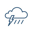 thunder storm icon with cloud lightning and rain vector image