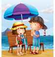 Two kids at the beach near the wooden chairs vector | Price: 1 Credit (USD $1)