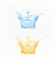 water splash set in blue and yellow colors for ad vector image vector image