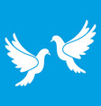 wedding doves icon white vector image vector image
