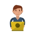 young man working laptop design vector image