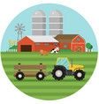 farm flat landscape natural background organic vector image