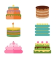 Set of colorful tasty pieces cakes pies and vector image