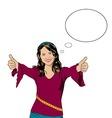 Smiling girl in pop art comics style vector image