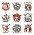 colorful vintage historical medieval labels set vector image