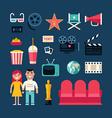Cinema Concept Cinema Industry Symbols Young Man vector image
