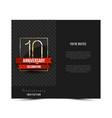10th anniversary invitation card template vector image vector image