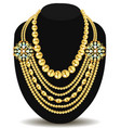 a gold feminine necklace with beads vector image vector image
