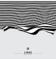 abstract striped black and white curved line vector image vector image