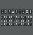 airport flip board alphabet scoreboard lettering vector image vector image