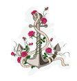 Anchor entwined with rose flowers vector image vector image
