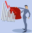 Businessman bullfighter with an attacking graph vector image vector image