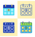 calendar with dollar sign icon set in flat and vector image vector image