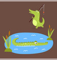 cartoon green crocodile funny predator australian vector image