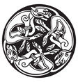 celtic design of a three dogs biting their tails vector image