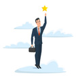 Cheerful businessman reaching up to get a golden vector image