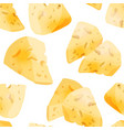 cheese slices seamless pattern in cartoon style vector image