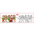 children in carnival costumes christmas vector image