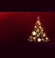 christmas shiny tree made stars snowflakes vector image