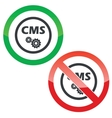 CMS settings permission signs vector image vector image