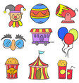 collection cute doodle circus theme vector image vector image