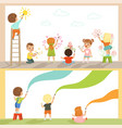 cute little gids painting with color paints and vector image vector image