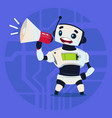 cute robot holding megaphone digital marketing vector image vector image