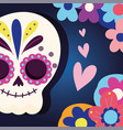day dead catrina heart love flowers vector image