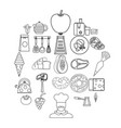 dining room icons set outline style vector image vector image