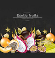 exotic fruits banner realistic dragon vector image vector image